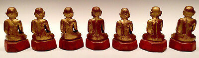 19th Century, Mandalay, A Set of Antique Burmese Wooden Seated Disciples 10