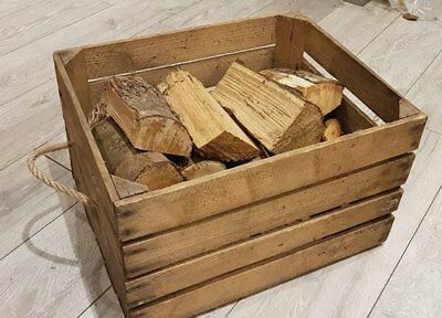 LOG BASKET / FIRE WOOD STORAGE  / FIREPLACE KINDLING BOX  Old Wooden Apple Crate 2