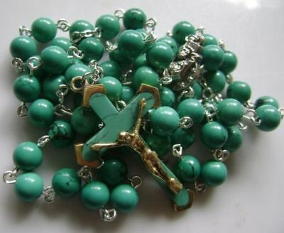 Turquoise BEADS & Turquoise CROSS Crucifix 5 DECADE ROSARY Catholic NECKLACE 5