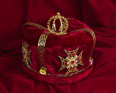 Rhinestone Crystal Gold Plated Crown with Gemstones Gem Velvet for King Royalty 2