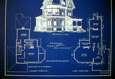 """Victorian House 1890 old fashioned blue Blueprint Plans 19""""x24""""  (070) 3"""