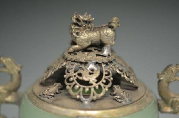 Unique Chinese Silver Copper Inlaid Jade Dragon Lion Incense Burner 3