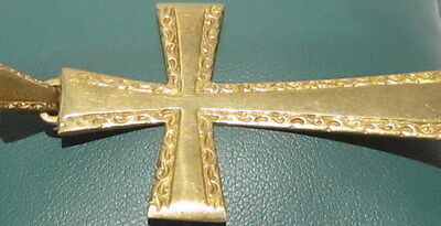 OUTSTANDING VINTAGE BRASS CROSS,ENGRAVING,EARLY 20th. Century !!! # 42A 4