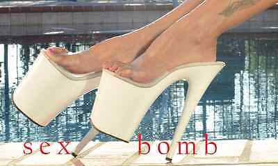 SEXY sabot sandali trasparente/bianco plateau tacco 20 da 35 a 42 Erotic GLAMOUR 2