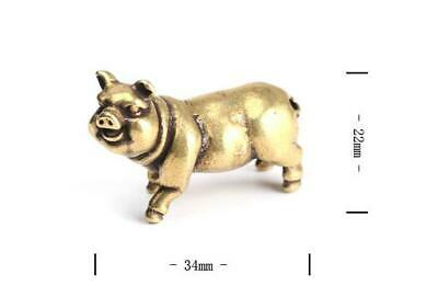 "1.3""Collection Curio Chinese Bronze 12 Zodiac Animal Likable Pig Small Statue 2"