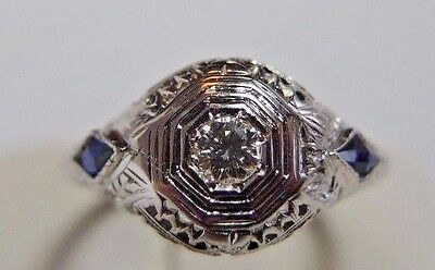 Antique Art Deco Diamond Engagement 20K White Gold Ring Size 5.75 UK-L EGL USA 6