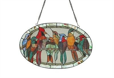 LAST ONE THIS PRICE  Ring Of Many Birds Window Panel Tiffany Style Stained Glass 2