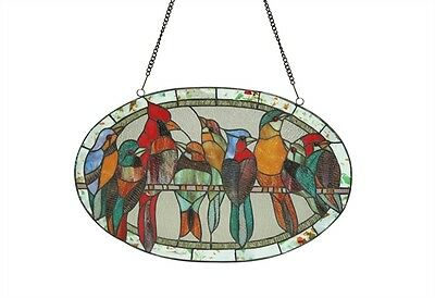 Ring Of Many Birds Design Window Panel Tiffany Style Stained Glass & Cabochons 2