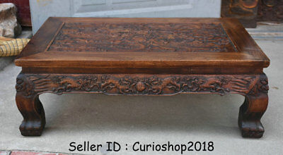 """26.2"""" Antique Old Chinese Huanghuali Wood Dynasty Dragon Tea Table Teapoy Desk 2"""