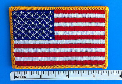 """USA AMERICAN FLAG EMBROIDERED PATCH IRON-ON SEW-ON GOLD BORDER (3½ x 2¼"""")"""