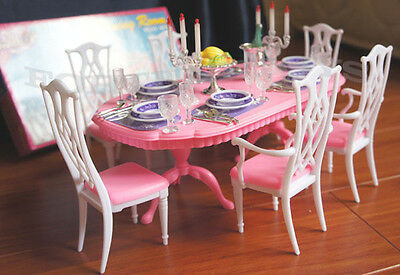 GLORIA DOLLHOUSE FURNITURE 6 CHAIRS DINING ROOM W/ Spoons Silverwares PLAY SET 3