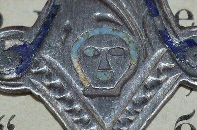 ANTIQUE 19th CENTURY RUSSIAN CROSS ! Enamel SILVER 84 Orthodox Icon CRUCIFIX vtg 10