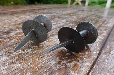 Vintage / antique hand made by blacksmith 2x knobs, perfect for project, farm. 4