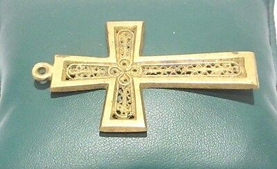 OUTSTANDING VINTAGE BRASS CROSS,ENGRAVING,EARLY 20th. Century !!! # 625 2