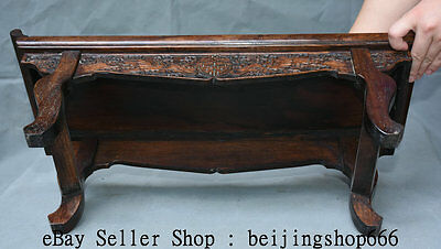 "22"" Old Chinese Huanghuali Wood Dynasty Carving Bat Lucky Table Desk Furniture 5"
