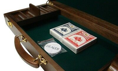 500 Ct Walnut Wooden Poker Chip Case with Trays, Felt Lining (No Chips/Cards)