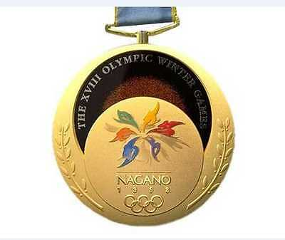 1998 Nagano Olympic Medals & Ribbons Set:Gold/Silver/Bronze & Display Stands !!!