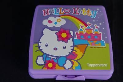 Tupperware Hello Kitty Sandwich Keeper Hinged Crayons Crafts Rainbow Purple New 3