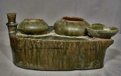 Ancient Chinese Han Dynasty 25-220 A.D. Green Glazed Pottery Cooking Stove Model 4