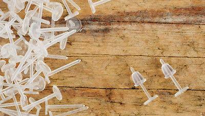 Set Tiges Clous et Embouts plastique transparent 12 x 3 mm x 20 paires DIY !!