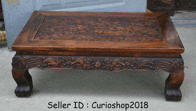 """26.2"""" Antique Old Chinese Huanghuali Wood Dynasty Dragon Tea Table Teapoy Desk 7"""