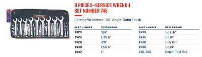 """3//4/"""" 1-1//4/"""" 9-Piece Wright Tool 745 Service Wrench Set"""
