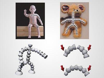 """M00362 MOREZMORE 1/4"""" Jeton Flexible Ball Socket Armature Kit Doll Bear T20 2"""