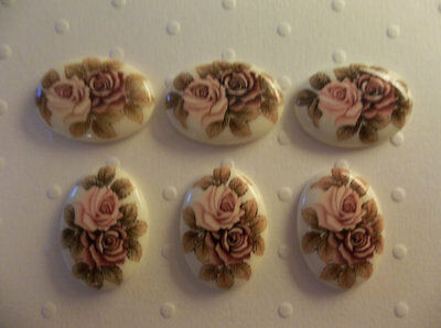 Pink /& Mauve Roses on Beige Cameos Qty 3 Vintage 25X18mm Glass Cabochons
