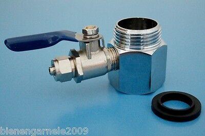 """Wasseranschluss Adapter 3/4"""" + Absperrhahn Osmoseanlage Wasserfilter Kugelventil 2"""