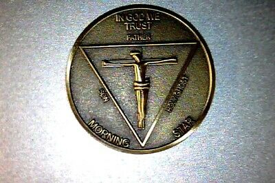 """Lucifer Morning Star - High Quality Detail - 1 1/4"""" Solid Brass 3D  Coin 31.75MM 2"""