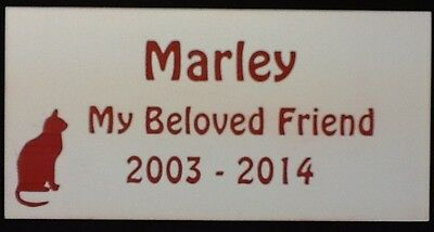 Personalised Pet Cat Memorial Plaque - Various Colours