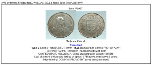 1951 Switzerland Founding HERO WILLIAM TELL 5 Francs Silver Swiss Coin i75957 3