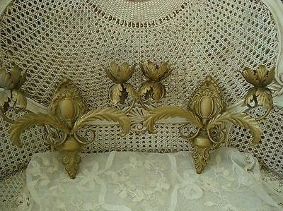 Beautiful French Medallion Acanthus Leaf Sconces for Candles *ROMANTIC* 2