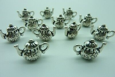 12 pce Metal Antique Silver Teapot Charm Pendants 15mm x 13mm