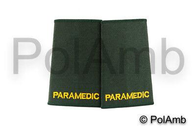 PARAMEDIC Slider Epaulettes (Bottle Green) Medic Ambulance Technician Responder