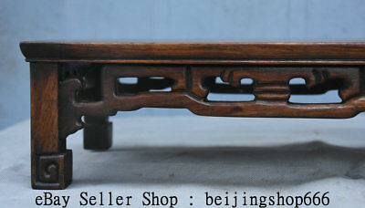"14"" Old Chinese Huanghuali Wood Hand Carved Natural Lines Table Desk Furniture 2"