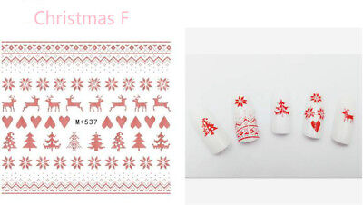 3D Nail Art Stickers Water Decals Cartoon Christmas Set 7