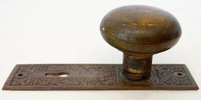 2 ANTIQUE Vintage 1800's VICTORIAN Cast Brass / Bronze DOOR KNOB & ESCUTCHEONS 3