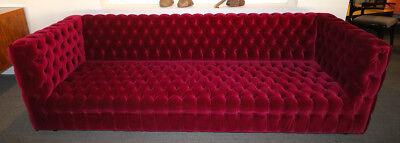 CUSTOM CAPITONE TUFTED Red Velvet Sofa - $15,800.00 | PicClick