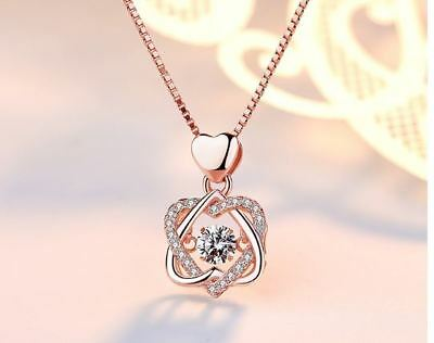 Rose Gold Heart Pendant 925 Sterling Silver Chain Necklace Womens Jewellery Gift 3