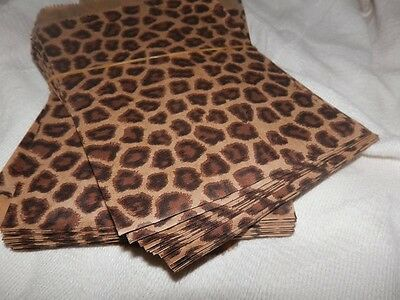 50 6x9 Zebra and Leopard Animal Print Paper Merchandise Bags, Party Treat Bags