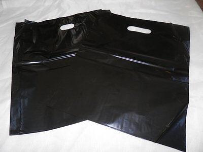 50 12x15 Glossy Black Low-Density Plastic Merchandise Bags W\Handles Retail Bags 2