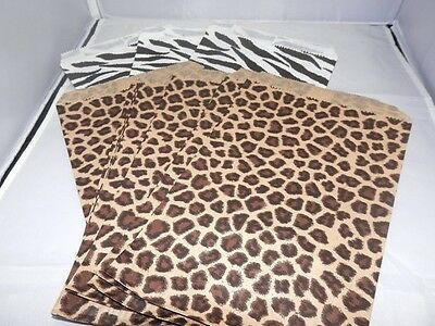 100 6x9 Zebra and Leopard Animal Print Paper Merchandise Bags, Party Treat Bags