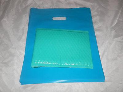 18 -12x15 GlossyTeal Blue Low-Density Plastic Retail Merchandise Bags W\Handles