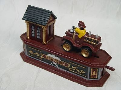 Feuerwehr mechanische Spardose Weihnacht Geschenk Vintage DekoSammler Spielzeug 3