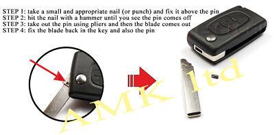 02A Fits Peugeot 308 3008 5008 2 Button KEY FOB REMOTE CASE Repair Fix Kit HU83 5