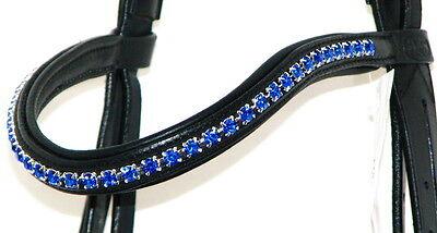 FSS Crystal Bling ROYAL SAPPHIRE Benetton BLUE Paded Browband Custom Sparkle
