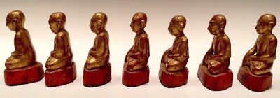 19th Century, Mandalay, A Set of Antique Burmese Wooden Seated Disciples 11