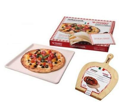Trabo Naturcook Pietra Refrattaria + Pala Forno per Pizza Carne Pesce Verdure 2