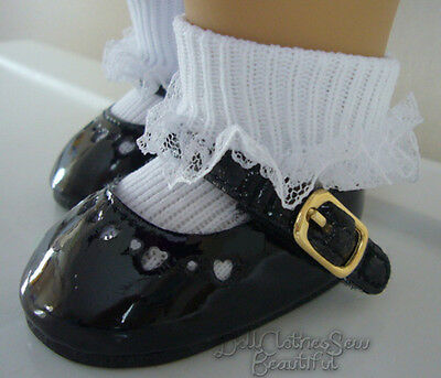 992ec22d40e6f BLACK PATENT DRESS Shoes & Lace Trim Socks fits 18